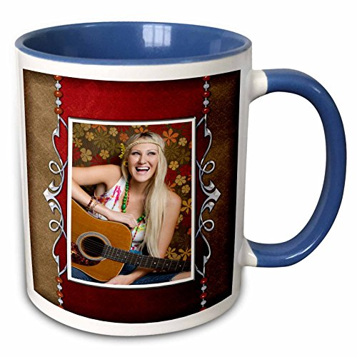 Susan Brown Designs People Themes - Hippie Guitar Girl - 11oz Two-Tone Blue Mug (mug_99485_6) (Hippy Guitar Pic compare prices)