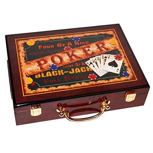 Coffret jetons poker bois verni black jack marron