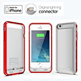 IFans® [Apple MFi Certified] for iPhone 6 External 2400mAh Power Pack Case and Rechargeable Back Up Battery Charger ,Apple Original Charging Plug Connector, 100% Compatible with iPhone on iOS 8.1, Slim Design Silver & Clear Red frame
