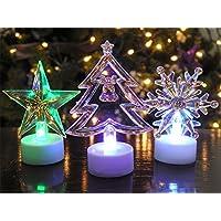 Christmas Acrylic Flameless Tea Lights -- Set of 3 Assorted -- LED Color Changing -- Star Tea Light -- Christmas Tree Tea Light -- Snowflake Tea Light -- 4