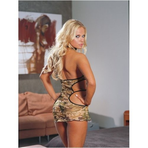 Women, Std Size - Sexy Camouflage Net Halter Dress with Matching Thong Lingerie (choker not included)