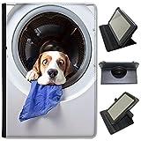 Beagle Cane Custodia a Libro in finta pelle con funzione di supporto per tablet Samsung nero Washing Machine Beagle Dog Samsung Galaxy Tab 3 10.1 inch