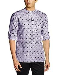 Svanik Men's Mid Thigh Cotton Kurta (SVCK1571_Large_Purple)