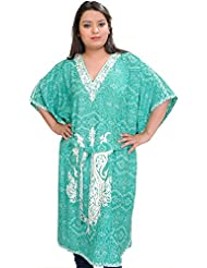 Exotic India Emerald-Green Kashmiri Short Kaftan With Floral Prints And - Green