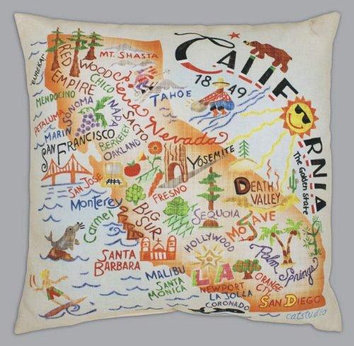 Catstudio California Outdoor Pillow - Original Geography Décor Travel 006OPCA-CAT