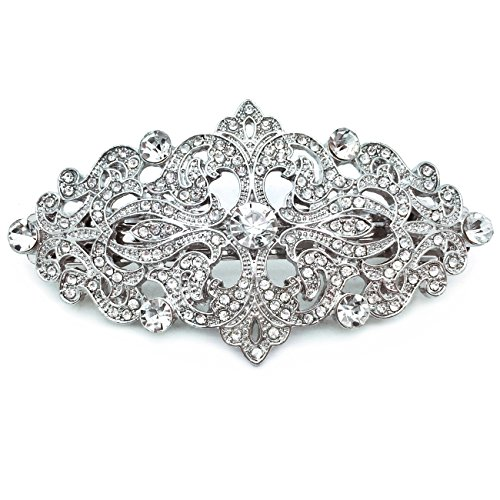 Sparkly Bride Ornate Victorian Wedding Accessory Rhodium Plated Crystal Hair Barrette 3.25 inches