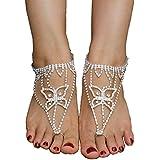 Dorzi(TM) Bohemian Barefoot Sandal Foot Jewelry Drill Ring Anklet Chain Bracelet