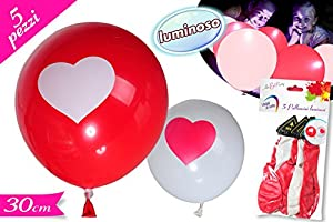 5 ballons rouges et blancs lumineux tours avec une impression de coeur led