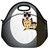 Snoogg Owl Sit On Branch With Baby Owl Travel Outdoor Carry Lunch Bag Picnic Tote Box Container Zip Out Removable Carry Lunchbox Handle Tote Lunch Bag Food Bag For School Work Office
