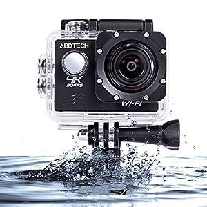 Abdtech 4K HD wifi 防水 64GB 16MP 170度広角レンズ スポーツ アクションカメラ ウェアラブルカメラ ブラック