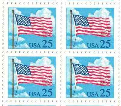 US Flag in Sky Set of 4 x 25 Cent US Postage Stamps NEW Scot 2278