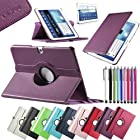 Pandamimi ULAK(TM) Leather 360 Rotating Case Cover for Samsung Galaxy Tab3 10.1 Tablet P5200 P5210 Auto Sleep/Wake function with Screen Protector and Stylus (Purple)