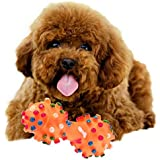 Futaba Polka Dot Squeaky Rubber Dumbbell Chewing Toy