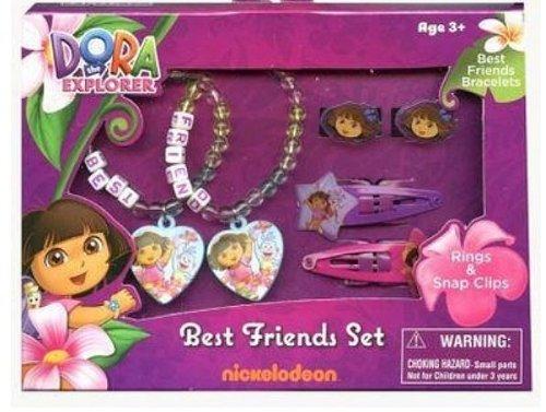 Dora The Explorer Best Friends Set Rings Hair Snap Clips & Bracelets