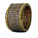 Mens FULLY ICED 24k Gold Plated Micropave A Class HipHop Bling Ring