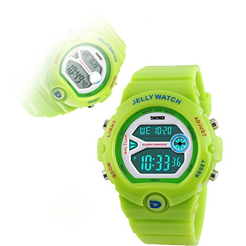 Qaistywf® SKMEI Children's Outdoor Sports Multifunction Waterproof Jelly Digital Electronic Watch green (Waterproof Jelly Watch compare prices)
