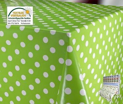 WACHSTUCH Tischdecken abwischbar Meterware, Größe wählbar, Glatt Punkte Weiß Grün von Beautex - Gartenmöbel von Du und Dein Garten