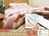 【東京西川】日本製/洗えるカシミヤ入りウール毛布/シングルサイズ (BE(ベージュ))