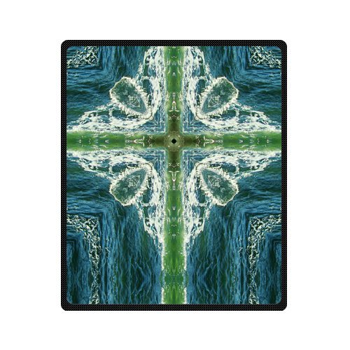 Personalized Fashion Cross Sign Of Flowing Water Picture Fleece Blanket 50 X 60 back-1078536