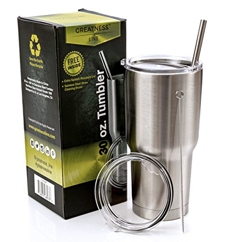 Greatness Line 30 oz. Stainless Steel Tumbler Value Pack with 2 Lids and Extra SS Straw - Double Wall Insulated Travel Cup - Keeps Cold & Hot (Metal Coffee Cups With Lids compare prices)