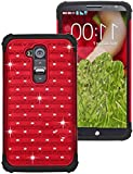 myLife Blood Red {Shimmer and Rhinestone Design} 2 Layer Neo Hybrid Case for the for the LG G2 Smartphone (External Rubberized Hard Safe Shell Piece + Internal Soft Silicone Flexible Bumper Gel)