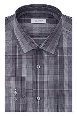Calvin Klein Men's Non Iron Regular Fit Plaid Spread Collar Dress Shirt