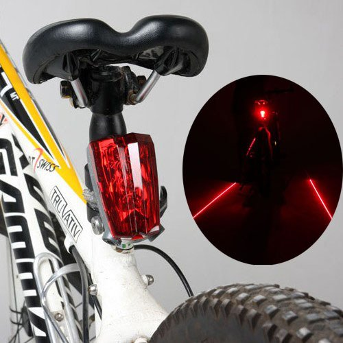 LW Bicycle Bike Cycling Rear Tail Laser LED Lights: 2 Laser Beam and 5 LED Safety