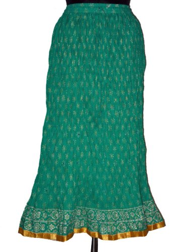 Girls Gypsy Crinkle Skirts Dark Cyan Floral Motifs With Mirror Work Long Skirts 40 inch