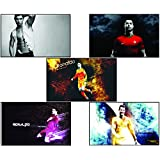 Set Of Posters | Original Quotes Decorative Cristiano Ronaldo Poster (Pack Of 5) | News Paper Size 14 Inch X 26...