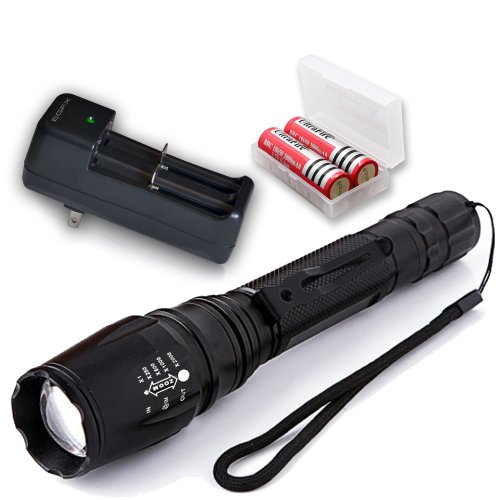 T6X2 Flashlight Kit: 1600 Lumen Professional Led Flashlight Offering Ultra Bright Light With Zoom And 5 Light Modes - Includes Xml-T6 Led Flashlight, 2 X 18650 Rechargeable Batteries, Battery Charger And A Battery Storage Case - An Ideal Tactical Flashlig