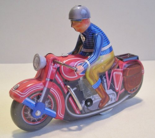 Motorcycle, wind-up, red, Tin Toy