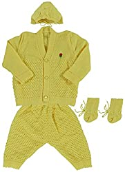 Woollen Sweater Full Suit (0-6 Months) (Lemon)
