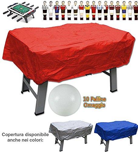 Calcio balilla copertura in plastica rossa per interno ed esterno universale per ogni tipo di calcetto. Set di 10 palline in omaggio.