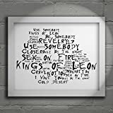 `Noir Paranoiac` Art Print - KINGS OF LEON - Only by the Night - Signed & Numbered Limited Edition Typography Wall Art Print - Song Lyrics Mini Poster