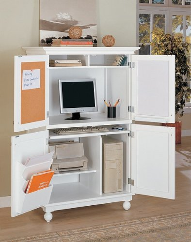 Buy Low Price Comfortable White Finish Louvered Design Computer Armoire Desk Workstation (B000STOQEY)