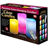 Glow Candles - Flameless Color-Changing Candles, 3 Battery-operated LED Pillar Candles with Remote (Real Wax)