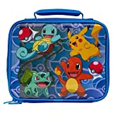 Pokemon Pikachu, Squirtle, Bulbasaur, and Charmander Lunch Kit, 10 x 4 x 8 Inches