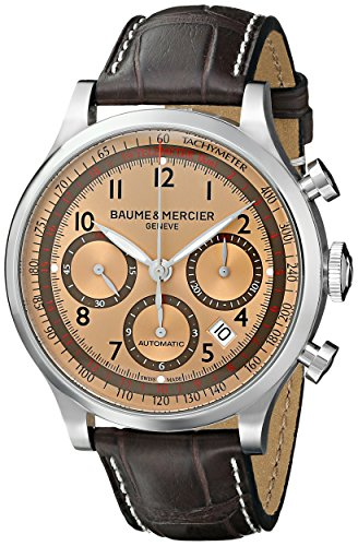 Baume and Mercier Capeland Brown Sun Satin Dial Chronograph Men's Watch