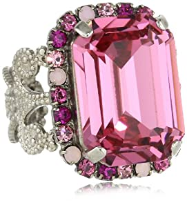 "Sorrelli ""Sweet Heart"" Fancy Emerald Cut Shades of Pink Crystal Cocktail Adjustable Ring"