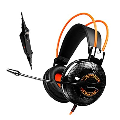 Gaming Headset, Forestfish 3.5mm Stereo Pc Gaming Headphone Noise Canceling Headset Headband Headphone with Microphone & Volume Control for Pc Computer, Black + Orange