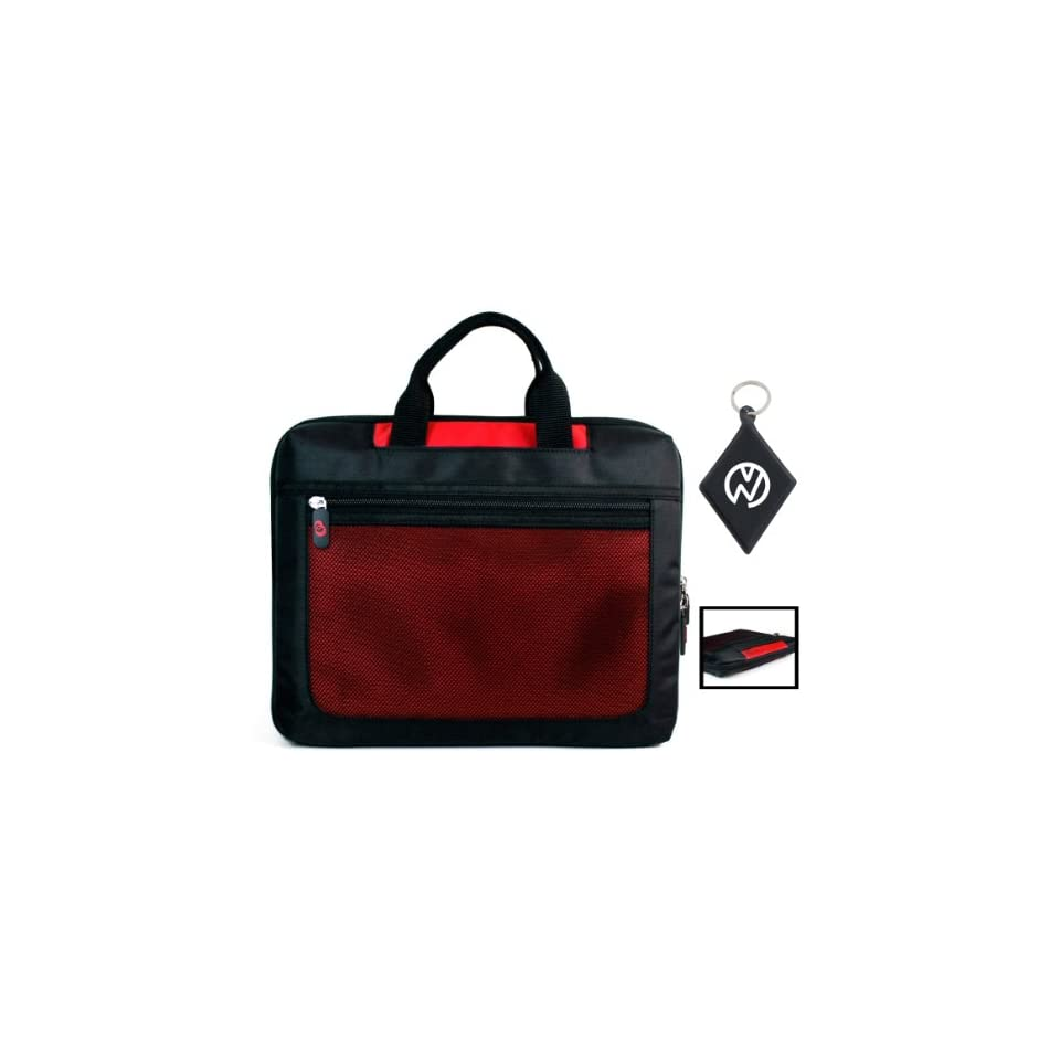 Acer Aspire AS7551G 6477 17.3 Inch Notebook Laptop Computer Nylon Sleeve Carrying Case with Extra Compartment Pockets, Color Black / Red + NuVur ™ Keychain (ND17SER1)