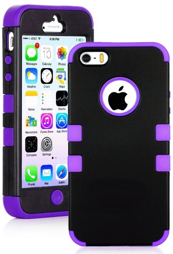 Mylife (Tm) Violet Purple And Black - Robot Series (Neo Hypergrip Flex Gel) 3 Piece Case For Iphone 5/5S (5G) 5Th Generation Itouch Smartphone By Apple (External 2 Piece Fitted On Hard Rubberized Plates + Internal Soft Silicone Easy Grip Bumper Gel + Life