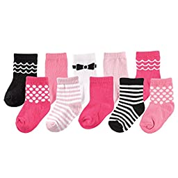 Luvable Friends 10-Pair Socks Gift Set, Pink Bow