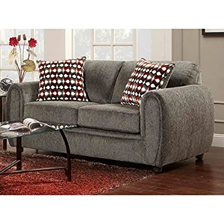 Contemporary Loveseat in Champ Charcoal Finish