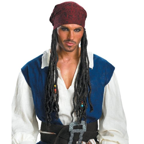 Disguise Men's Disney Pirates Of The Caribbean Jack Sparrow Adult Headband with Hair, Brown, One Size Pirate Costume Wig