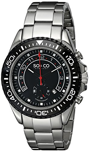 So&Co New York Men'S 5015.3 Yacht Club Quartz Date Black Dial White Accent Watch