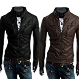 Men Stand Collar Long Sleeve Multi-pocket Slim Fit Motorcycle Jacket by NYC Leather Factory Outlet