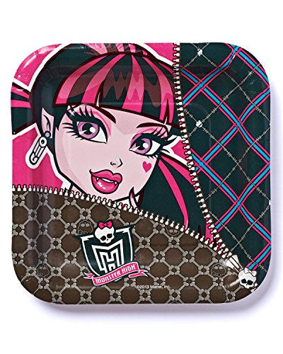 "American Greetings Monster High 7"" Square Plates (8-Pack), Party Supplies - 1"