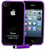 Connect Zone® PURPLE CLEAR HARD BACK SILICON TPU BUMPER COVER CASE FOR iPHONE 4/4S/4G + FREE SCREEN PROTECTOR + POLISHING CLOTH & MINI TOUCH SCREEN STYLUS