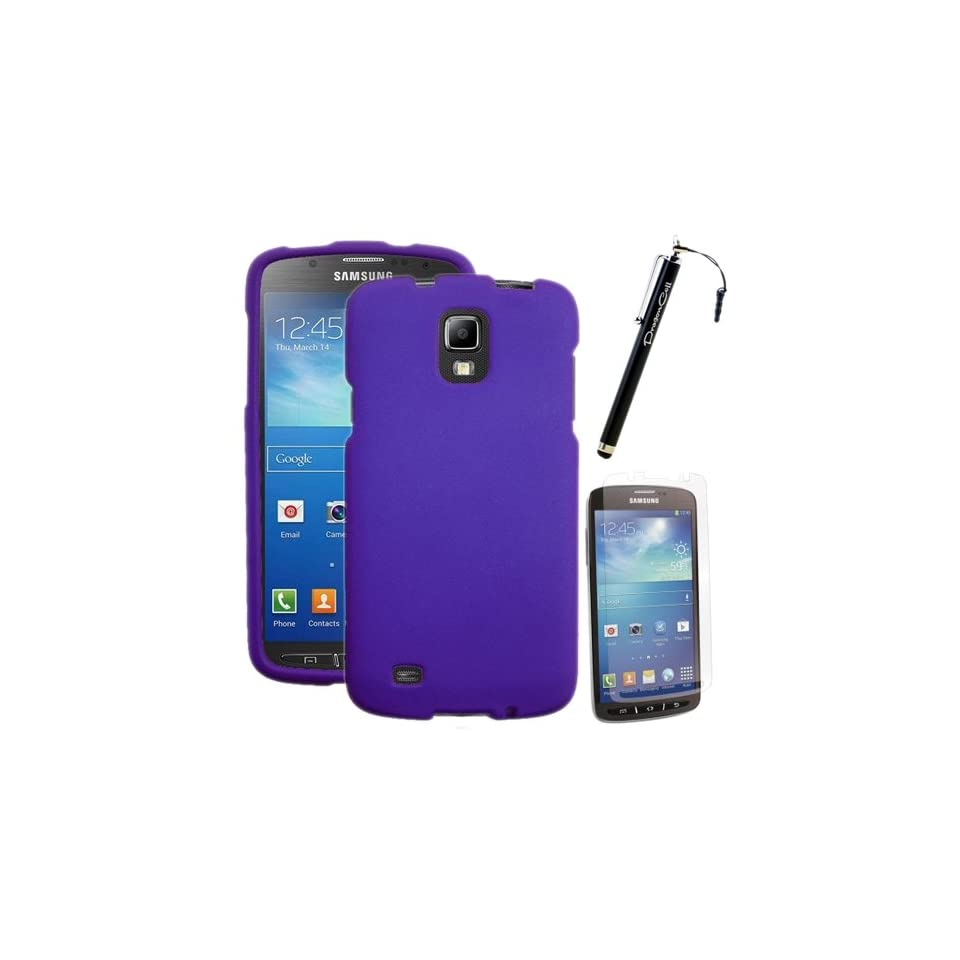 MINITURTLE, 3 in 1 Slim Fit Rubber Feel 2 Piece Snap On Hard Phone Case Cover, Capacitive Stylus Pen, and Clear Screen Protector Film for Android Smartphone Samsung Galaxy S4 IV Active I9252, SGH I537 /AT&T (Purple) Cell Phones & Accessories